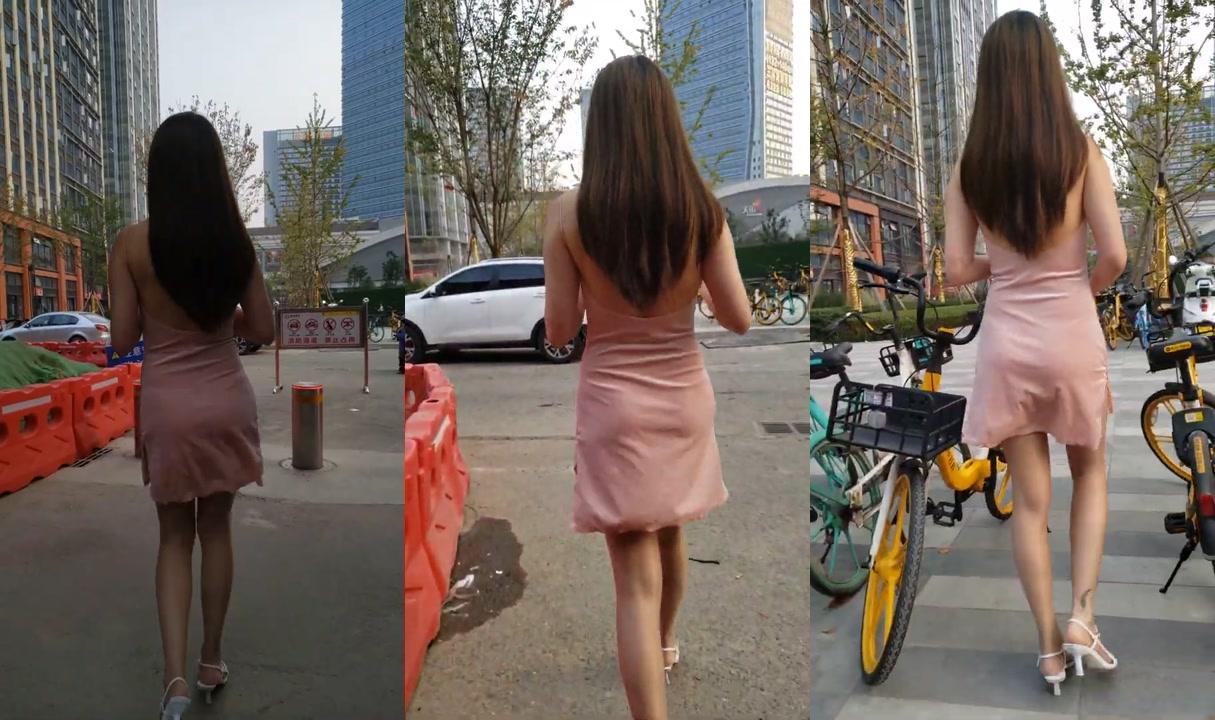 油亮肉丝高跟(4K)吊带包臀短裙丁字裤长腿美女街拍04