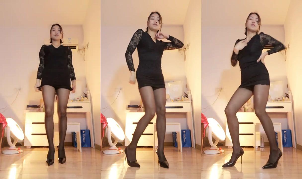 Sexy Dance 娟娟 黑色絲襪+黑色蕾絲連衣裙 性感美腿熱舞