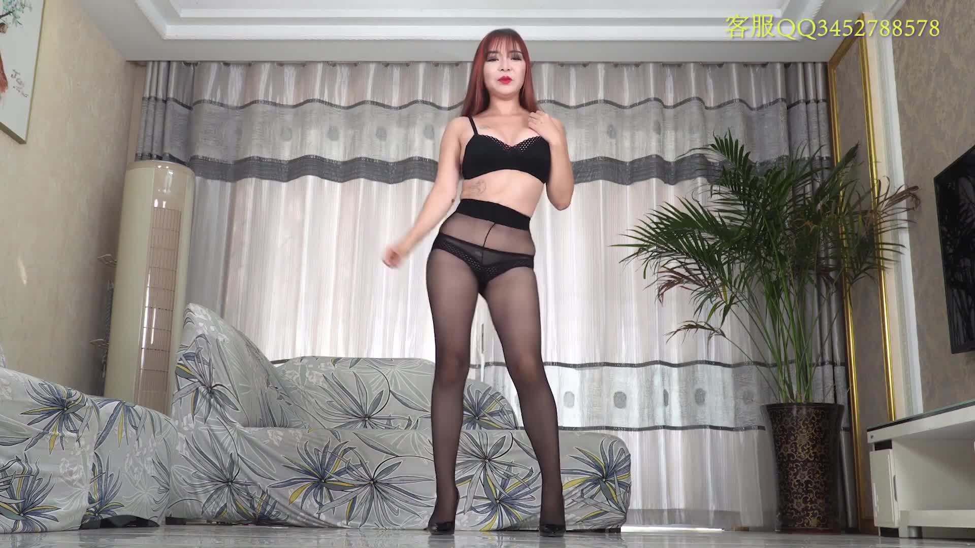 Sexy Dance 林夕 黑色絲襪+黑色蕾絲內衣 性感熟女激情誘惑熱舞(橫屏)