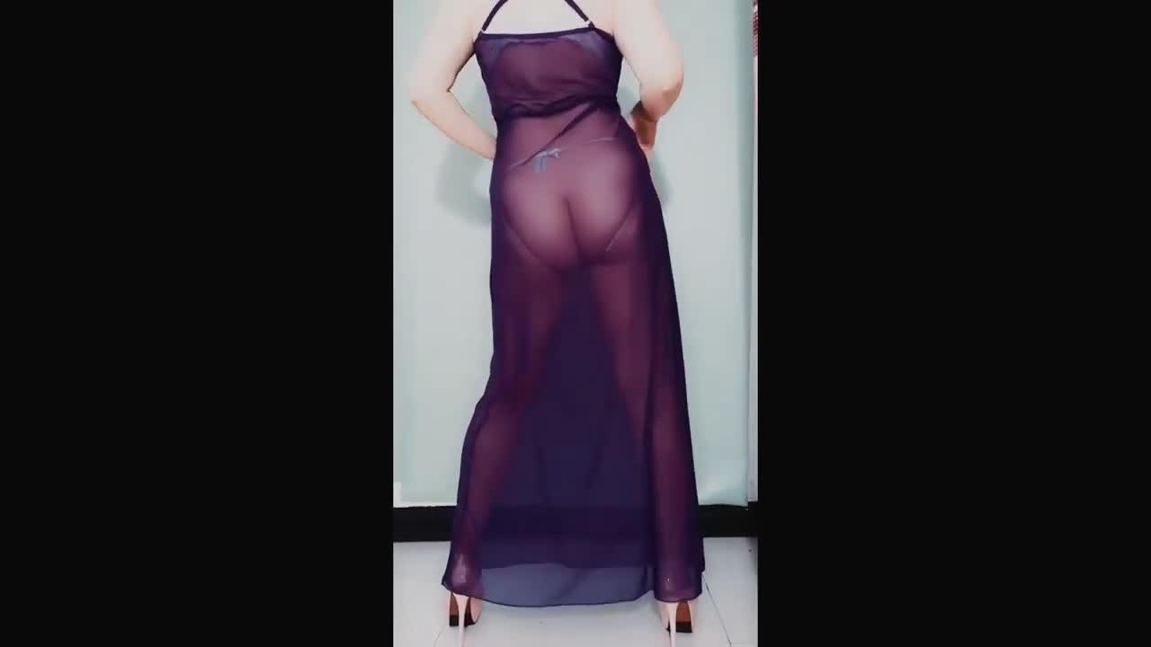 广场舞丽敏透明黑丝裙热舞