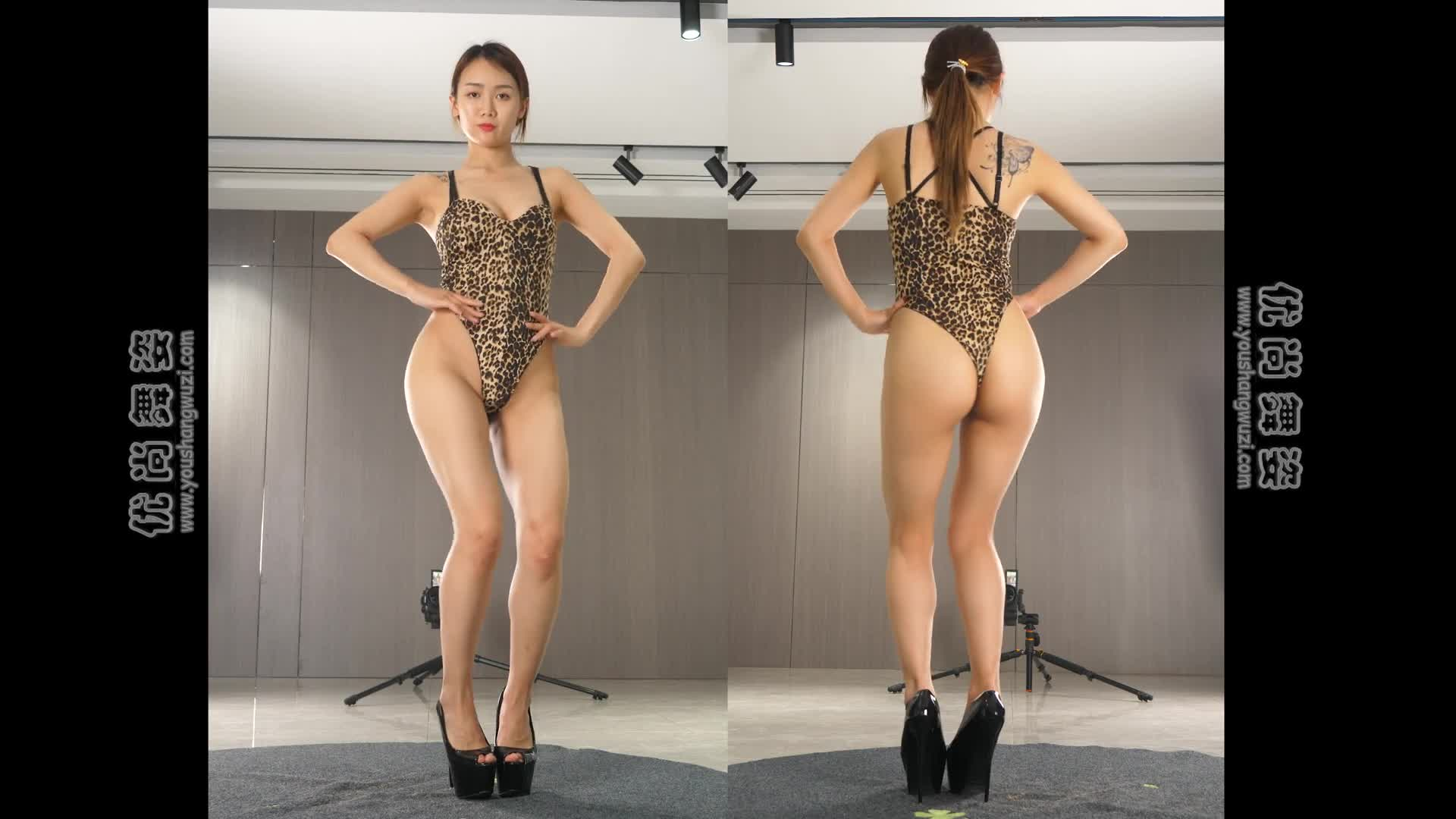 Hot and sexy dance(4K)hot dance Ultra-thin high cross jumpsuit叮叮33期2014X连体衣热舞