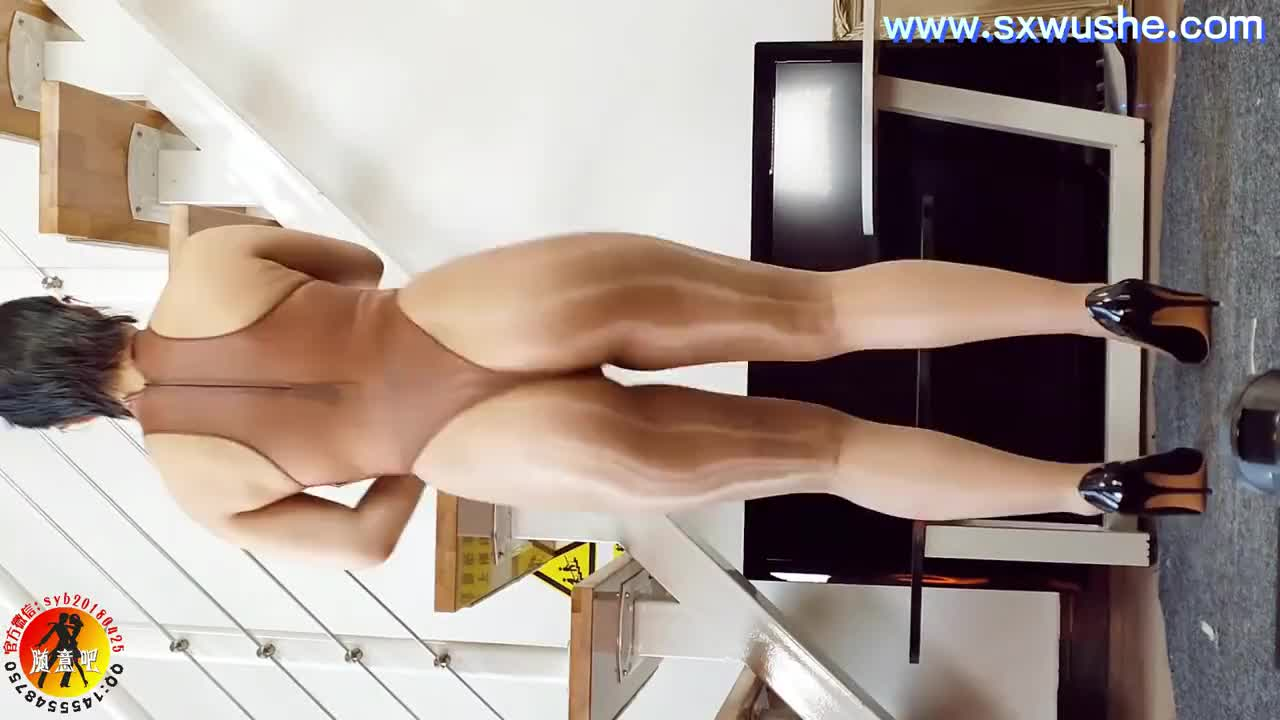 Sexy Dance 蜘蛛 肉色油亮絲襪+咖啡色高叉 誘人肥臀後背搖